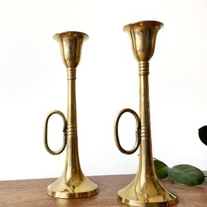 Vintage Brass Candlesticks - Set of 2